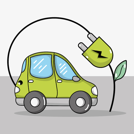 electric car with ecology power cable technology