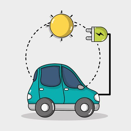 electric car technology with solar energy connection Иллюстрация