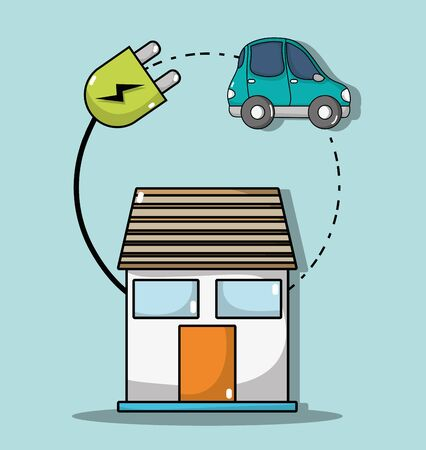 house with cable power to electric car connection Иллюстрация