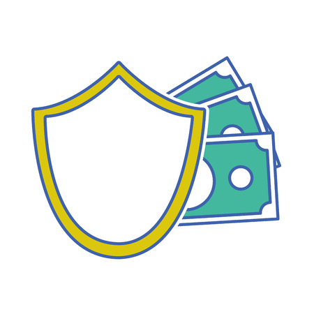 Shield security with bills cash money