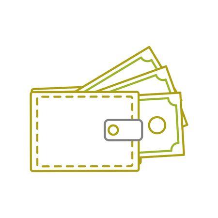 yellow line wallet with bill cash money guarded Ilustração