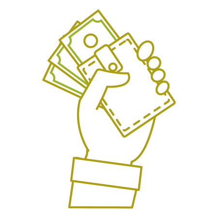 yellow line hand with bill cash money and wallet vector illustration
