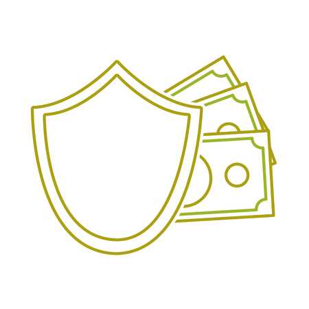 yellow line shield security with bills cash money vector illustration Illustration