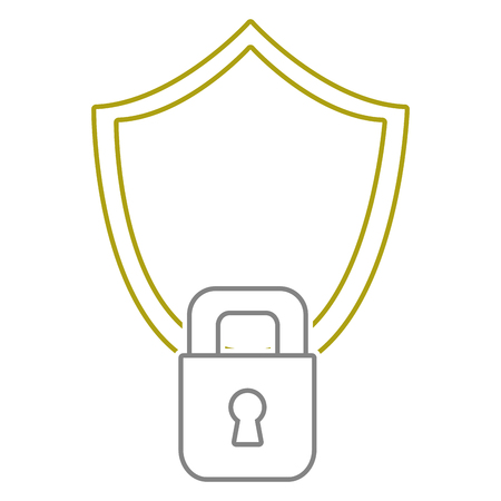 yellow line shield and padlock object to security protection vector illustration