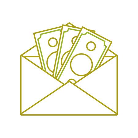 yellow line bill cash money inside card design vector illustration