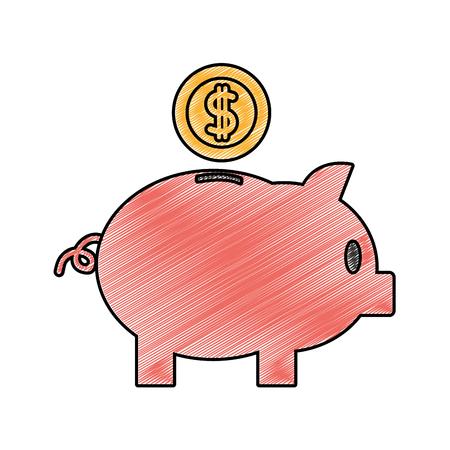 Grated piggy symbol vector illustration