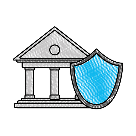 grated finance bank economy with shield security vector illustration Illustration