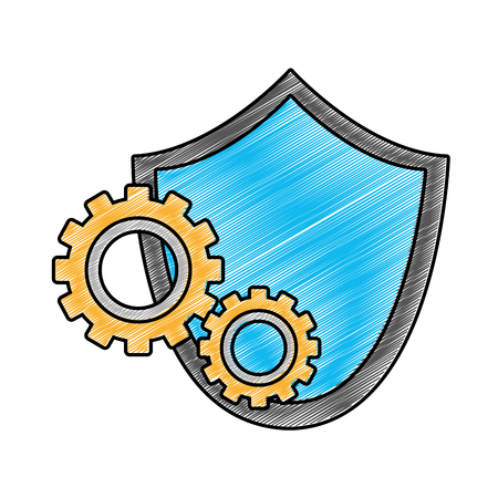 grated shield security with gear process industry vector illustration