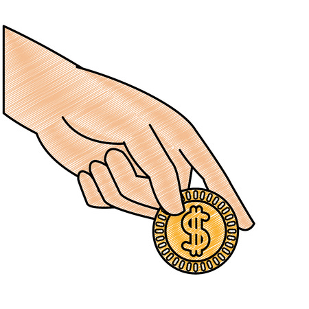 grated hand with metal coin cash money vector illustration Иллюстрация