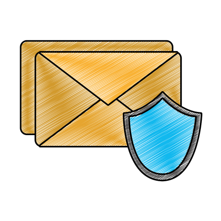 Grated e-mail letter message with security shield vector illustration Иллюстрация