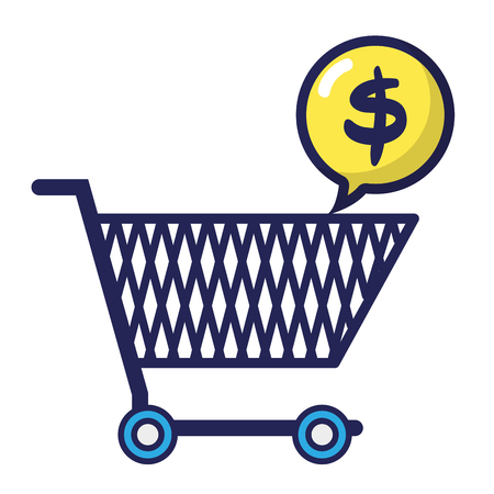 shopping car with dollar symbol inside chat bubble vector illustration