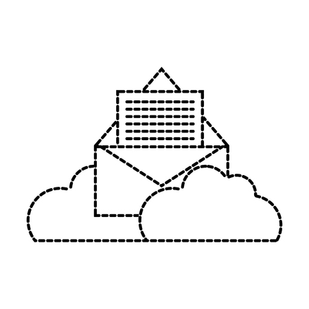 dotted shape e-mail letter with document information and clouds vector illustration Illustration