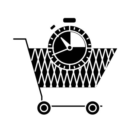 silhouette shopping car and chronometer time object vector illustration Illustration
