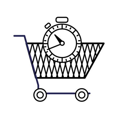 Line shopping car and chronometer time object vector illustration Illustration