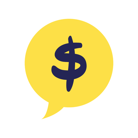 Colorful chat bubble with dollar symbol money inside vector illustration.