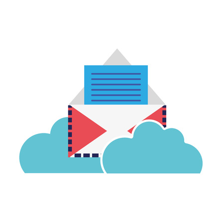 Colorful e-mail letter with document information and clouds vector illustration