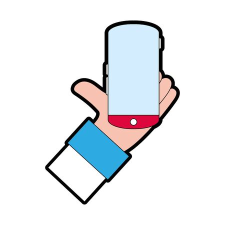 full color man hand with smartphone mobile technology vector illustration