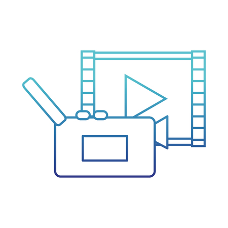 blue line video camera recorder with play video vector illustration Illustration