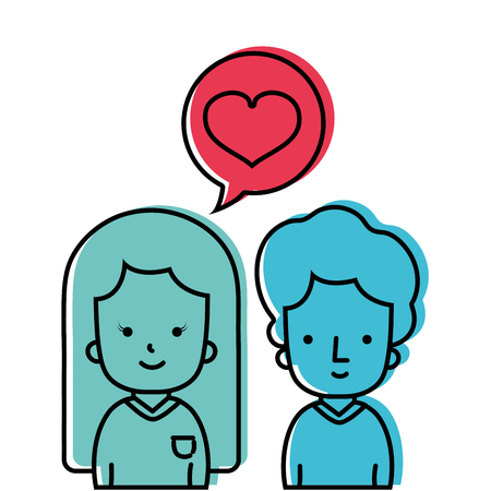 colored couple together with heart inside chat bubble Vectores
