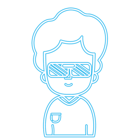 colored silhouette man with hairstyle design and 3d glasses