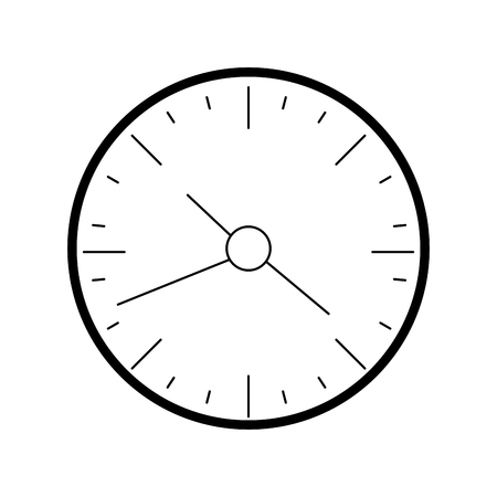 Line wall round clock time object illustration.