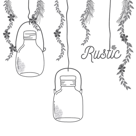 Rustic glass jar with leaves hand drawn icon vector illustration graphic design