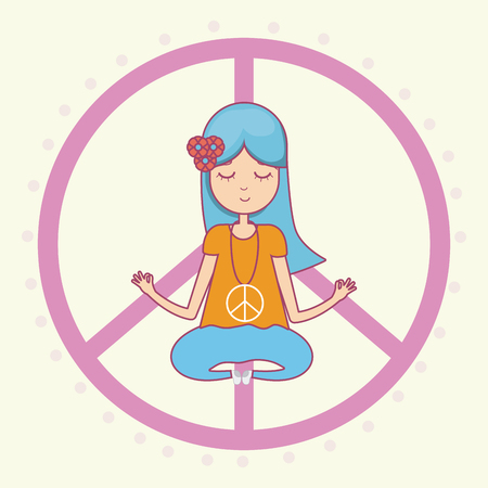 Meditating Hippie cute cartoon Illustration
