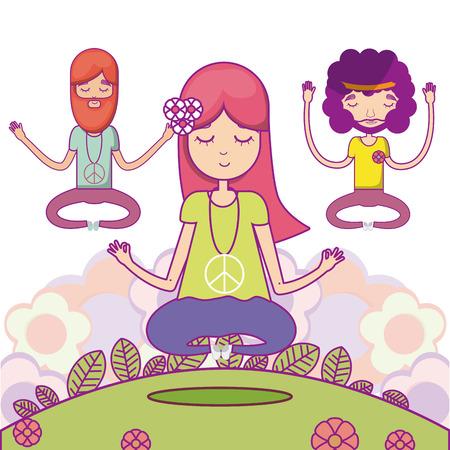 Hippie cute cartoon icon vector illustration graphic design