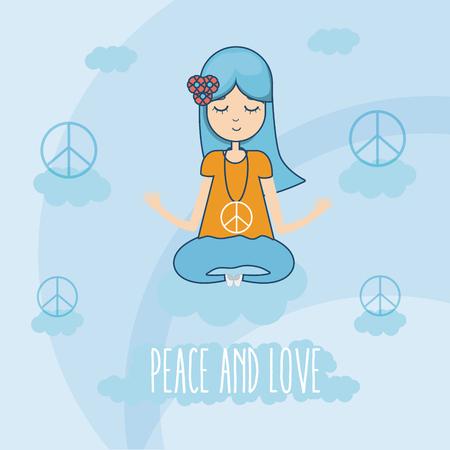 Hippie cute cartoon Illustration