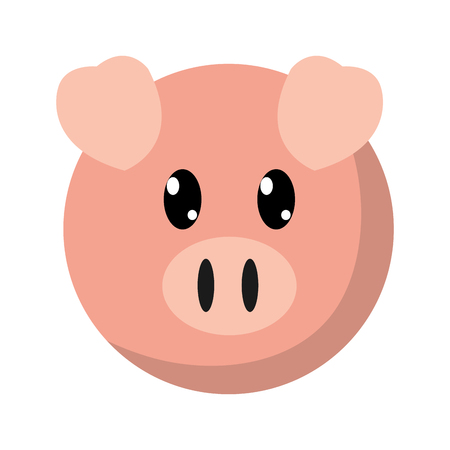colorful pig head cute animal character