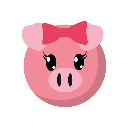 A colorful female pig head cute animal vector illustration Illustration