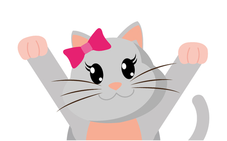 Colorful adorable female cat with hands up illustration