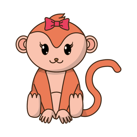 female monkey cute animal with ribbon bow