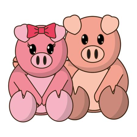 Pig couple cute animal together vector illustration. Illustration