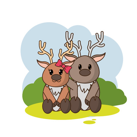 reindeer couple cute animal in the landscape Illustration