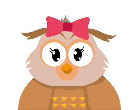 Colorful adorable female owl cute animal vector illustration.