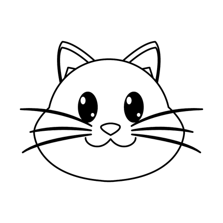 line happy cat head cute animal character