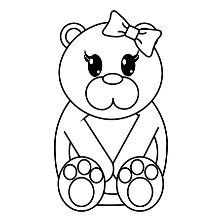 Line female bear cute animal with ribbon bow vector illustration.