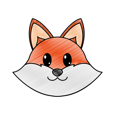 grated fox head cute animal character