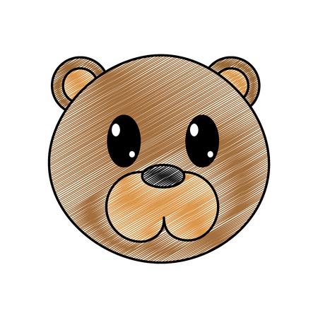 grated bear head cute animal character