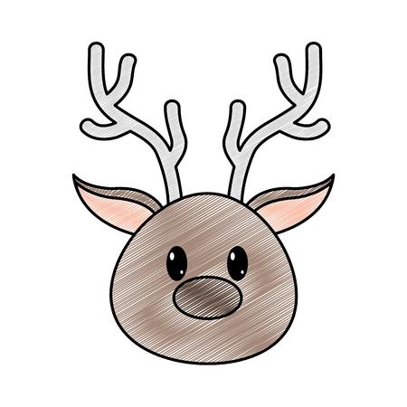 grated reindeer head cute animal character