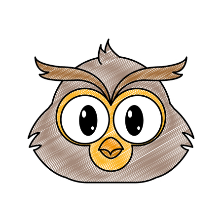 grated owl head cute animal character