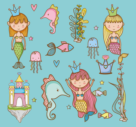 Sea animals hand drawing cartoons icon vector illustration graphic design cute and pastel colors, magical and beauty style Fantasy girl world Vectores