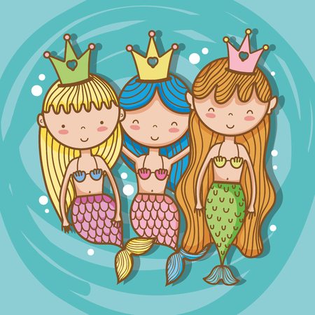 Little mermaids art cartoon. Stockfoto - 95560142