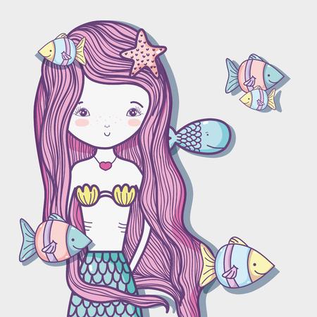 Little mermaid art cartoon icon vector illustration graphic design Vectores