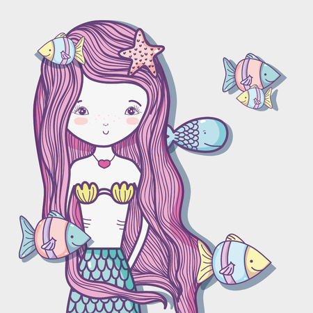 Little mermaid art cartoon icon vector illustration graphic design Illustration
