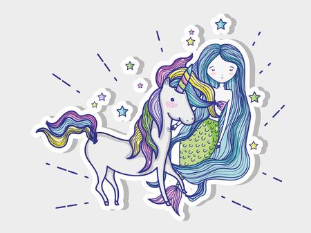 Little mermaid with unicorn art cartoon icon vector illustration graphic design magic and Fantasy girl world cute fairy tale