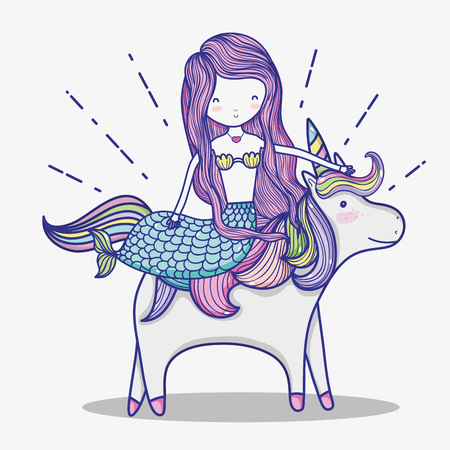 Little mermaid with unicorn art cartoon icon vector illustration graphic design magic and Fantasy girl world cute fairy tale