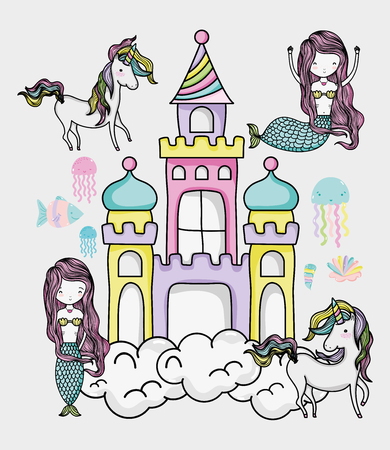 Little mermaid art cartoon icon vector illustration graphic design magic and Fantasy girl world cute fairy tale