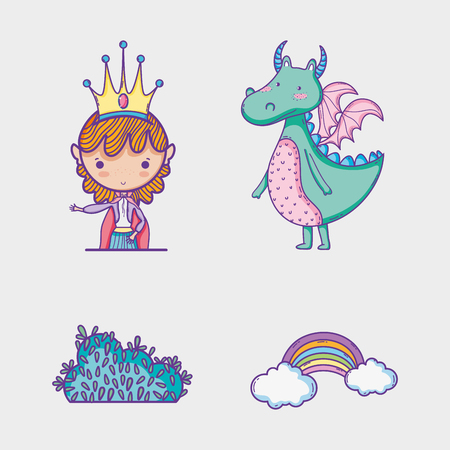 Magic world elements icon vector illustration graphic pastel colors , Sweet and Cute 向量圖像